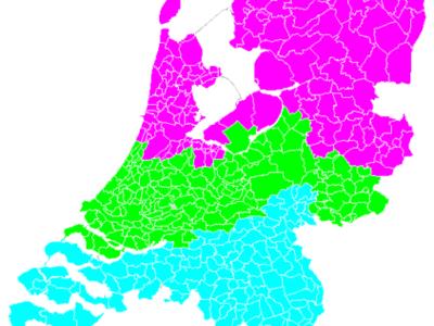 Kaart regio indeling vakantiespreiding Nederland